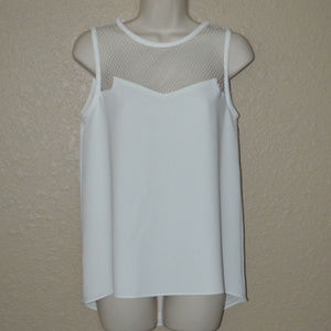 Sz S Rag & Bone White Perforated Sleeveless Blouse